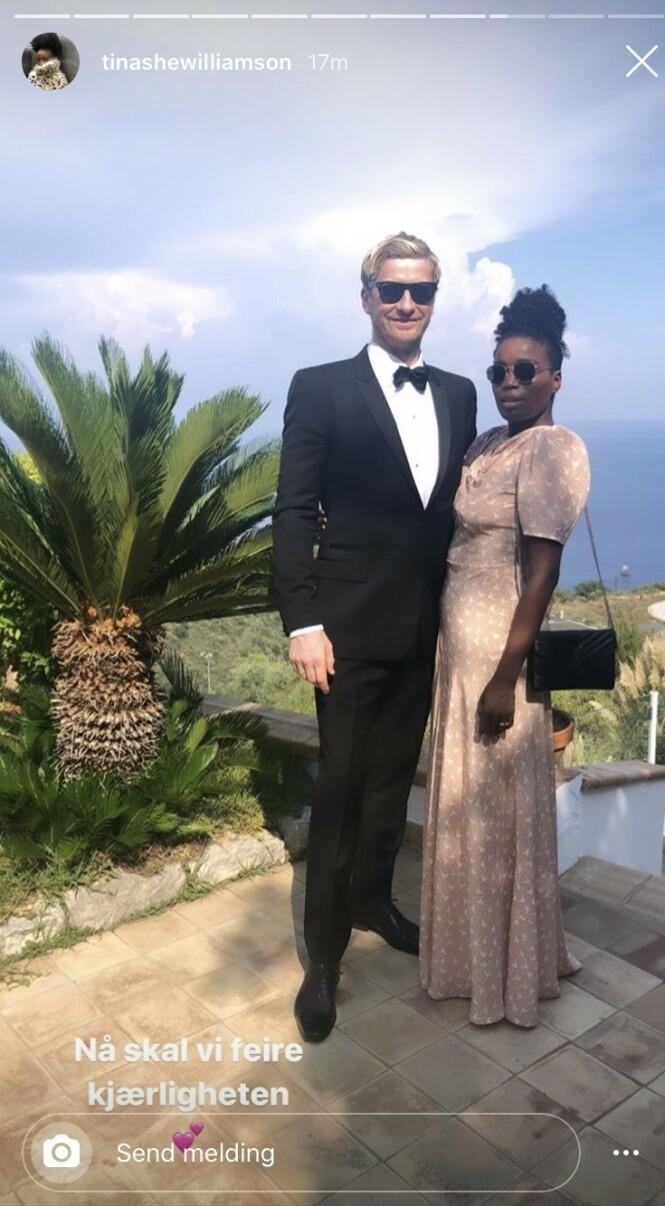KLARE: Odd-Magnus Williamson og Tinashe Williamson var selvskrevne gjester i bryllupet. Foto: Instagram / Skjermdump
