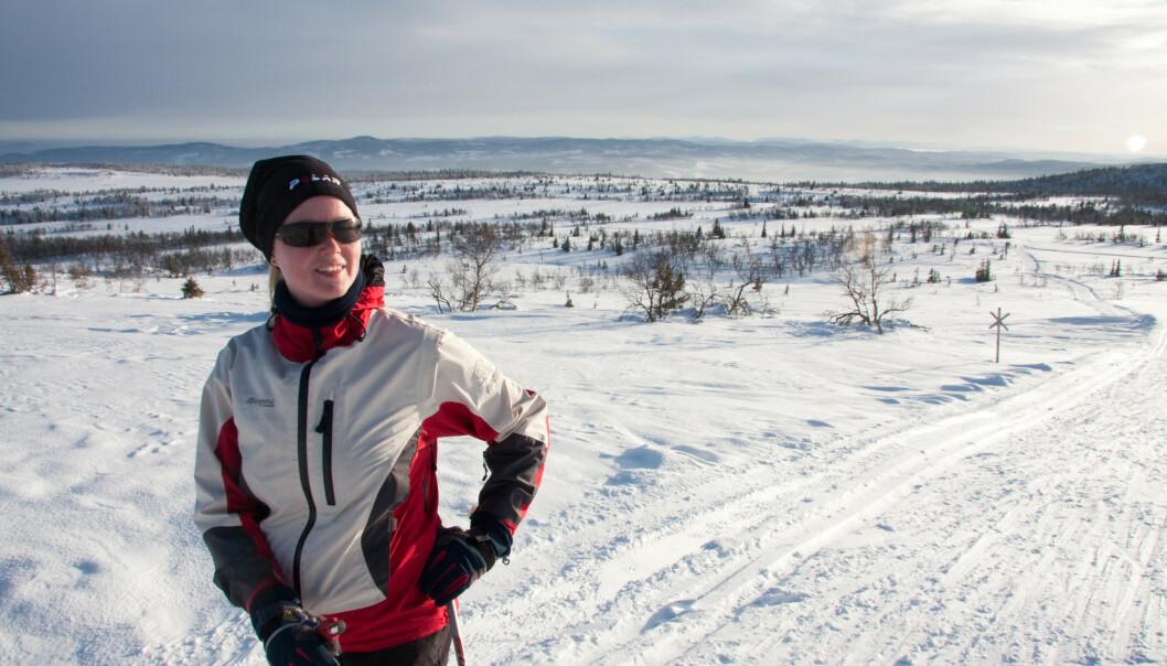 SØKTE NATUREN: Ragnhild elsket å gå på ski. Da gangfunksjonen ble begrenset etter kreften i 2016 oppsøkte hun Østmarka på sykkel. Hennes innstilling var at hun skulle klare å få tilbake livet hun kjente før hun ble syk. Foto: Privat