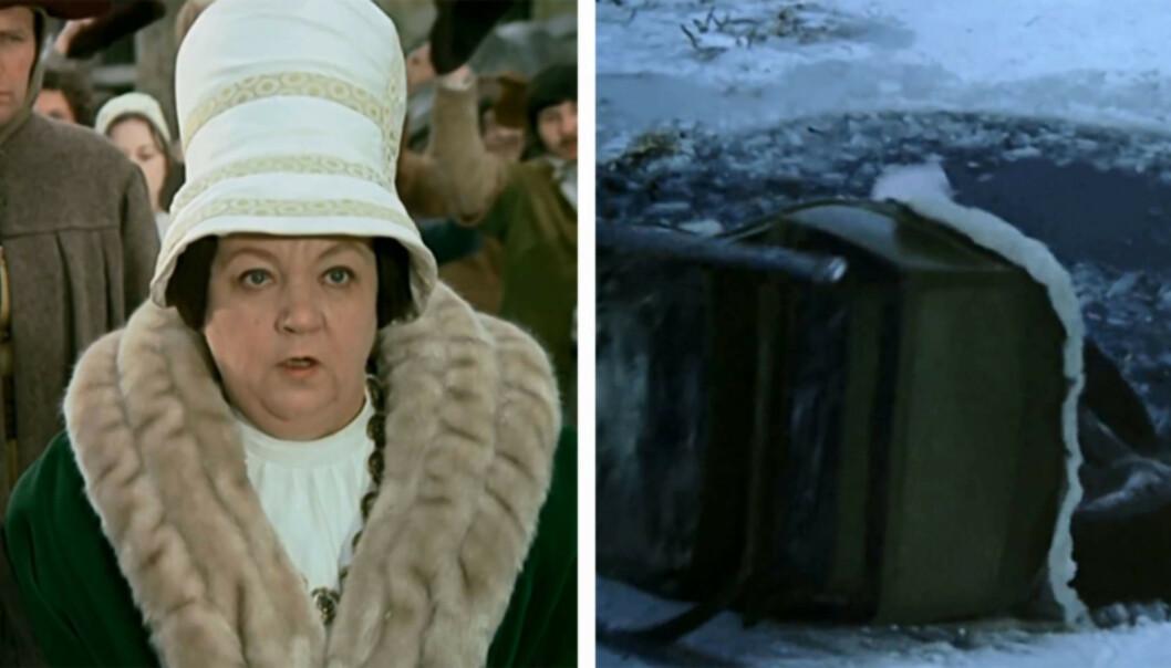 BRUKTE STUNTMENN: Carola Braunbock fikk ikke lov å gå ut i vannet selv, fordi produsentene mente det var for farlig. Isteden brukte de stuntmenn. Foto: DEFA