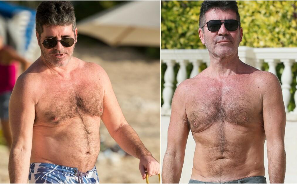 NYE BILDER: Simon Cowell i bar overkropp på ferie på Barbados skaper overskrifter. Til venstre er han avbildet i 2015 og til høyre i 2019. Foto: NTB Scanpix