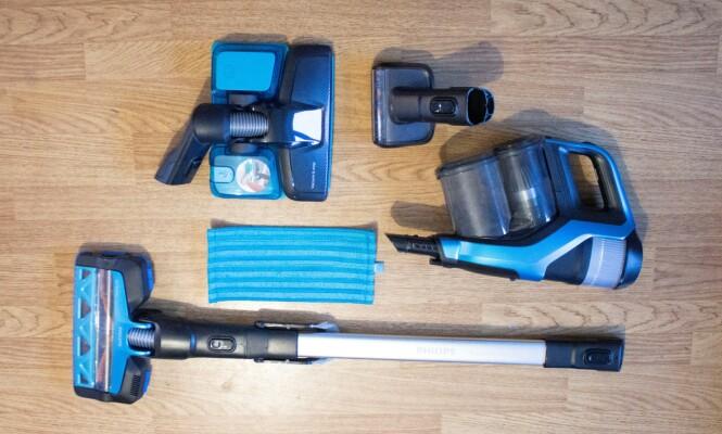 Philips SpeedPro Max Aqua har den minste tilbehørspakken, og spesielt savner vi et sprekkmunnstykke. Foto: Martin Kynningsrud Størbu