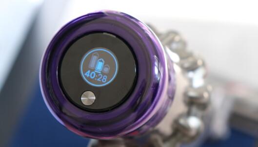 Dyson V11 har LED-panel som viser hastighetsnivå. Foto: Martin Kynningsrud Størbu