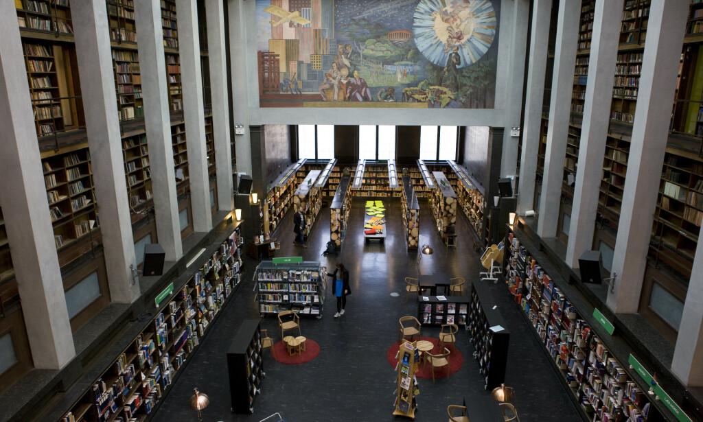 SNART SLUTT: 30. desember stenger gamle Deichman på Hammersborg. Det nye hovedbiblioteket i Oslo åpner 28. mars. Foto: Thomas Brun / NTB scanpix