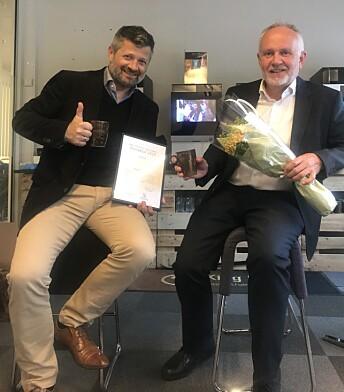 <strong>MILJØPRIS:</strong> Erik Lårbak og Asgeir Vikanes mottok Bærum kommunes miljøpris tidligere i år.