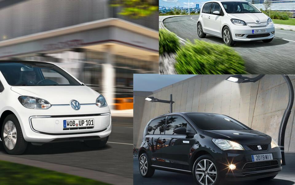 TRILLINGENE: VW e-UP, Skoda Citigo e og Seat Mii blir stående igjen med kun tre stjerner i Euro NCAP. Foto: Produsentene