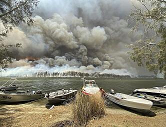 <strong>MASSE RØYK:</strong> Båter er tatt opp av vannet mens brannene og røyken ødelegger landet på andre siden av innsjøen Conjola i Australia. Litt lenger sør har militæret startet evakuering av mennesker. Foto: Robert Oerlemans / Ap / NTB Scanpix