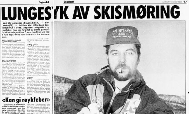 SYK AV FLUORSMØRING: Oppslag fra Dagbladet i 1990. I Legeforeningens tidsskrift ble det i 1990-91 beskrevet to tilfeller av det vi i dag trolig vil kalle fluorsjokk.