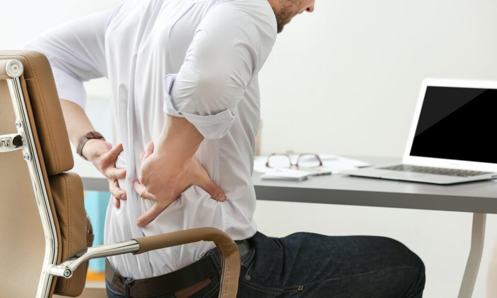RYGGSMERTER: Korsryggsmerter kan være forårsaket av prolaps. Foto: Shutterstock / NTB Scanpix
