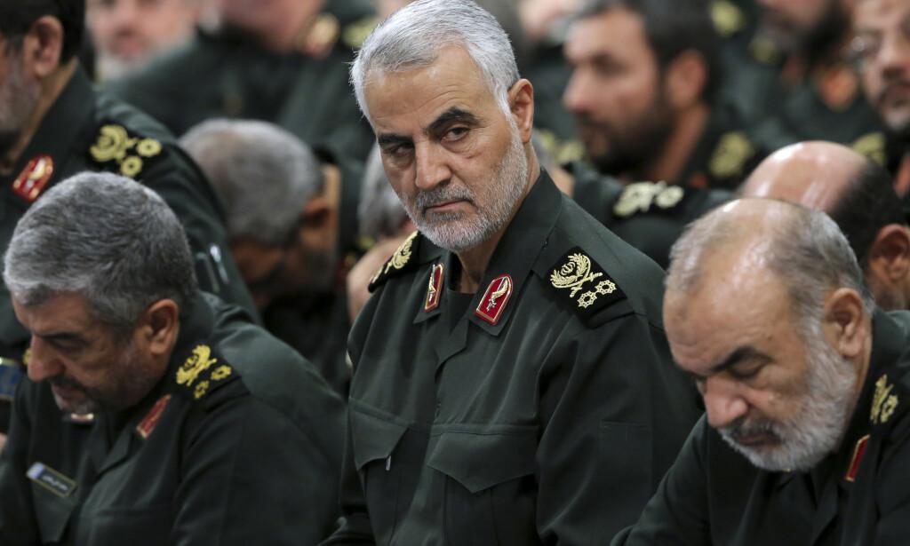 TOPPGENERAL: Qasem Soleimani var blant de som ble drept i et amerikansk droneangrep i januar. Foto: Office of the Iranian Supreme Leader via AP / NTB Scanpix