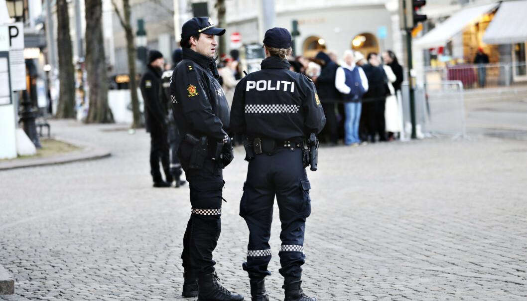 <strong>SIKKERHET:</strong> Det var et stort fokus på sikkerheten i forbindelse med bisettelsen, hvor politiet var blant de som stilte mannsterke. Foto: Christian Roth Christensen/ Dagbladet