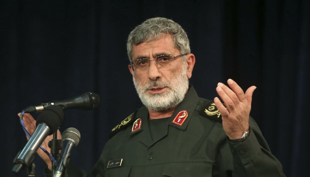 Den nye lederen av den iranske Revolusjonsgardens eliteenhet, Esmail Qaani, lover hevn mot USA. Foto: Mohammad Ali Marizad / Tasnim News Agency via AP / NTB scanpix
