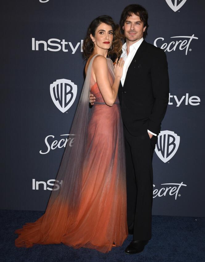 NIKKI REED: Skuespiller-ekteparet så flotte ut da de sammen ankom Golden Globe-etterfesten natt til mandag. Foto: NTB Scanpix