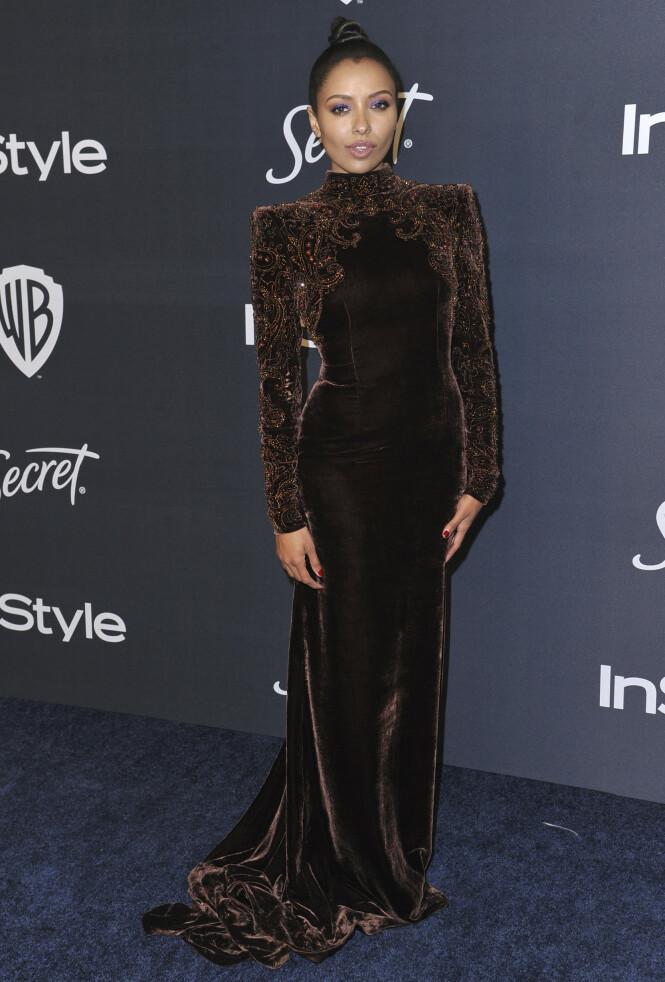 KAT GRAHAM: Skuespilleren så vakker ut iført en brun kjole med vakre broderier. Foto: NTB Scanpix