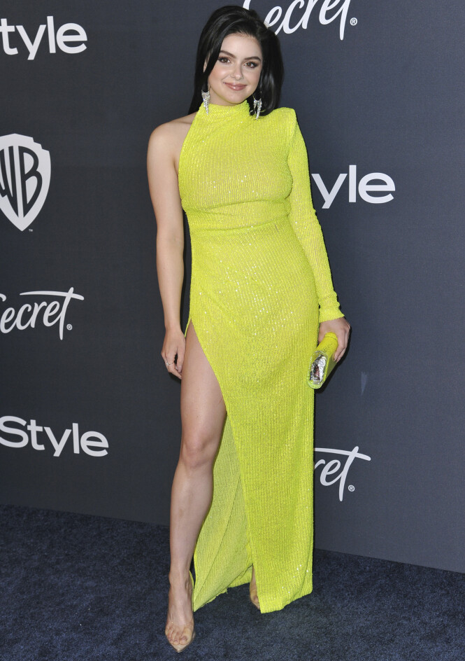 ARIEL WINTER: «Modern Family»-stjernen ankom i en knallgul kjole med høy splitt. Foto: NTB Scanpix
