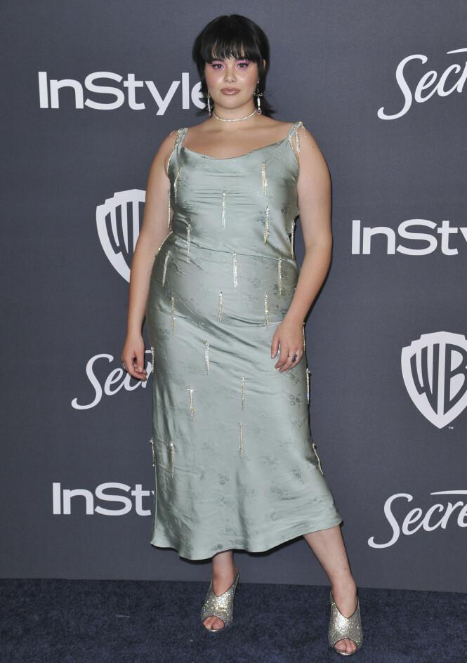 BARBIE FERREIRA: «Euphoria»-stjernen var ikledd en mintgrønn kjole i anledning Golden Globes etterfest. Foto: NTB Scanpix