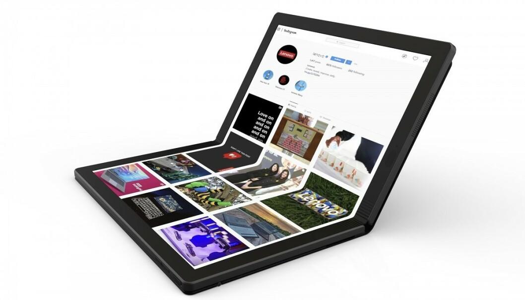 <strong>THINKPAD X1 FOLD:</strong> I år kommer den første bærbare PC-en med brettbar skjerm. Lenovo er først ut med ThinkPad X1 Fold. Foto: Lenovo