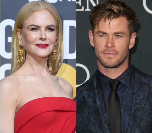 AUSTRALSKE STJERNER: Deriblant Nicole Kidman og Chris Hemsworth har bidratt med penger til hjelpemannskapene i Australia. Foto: NTB scanpix