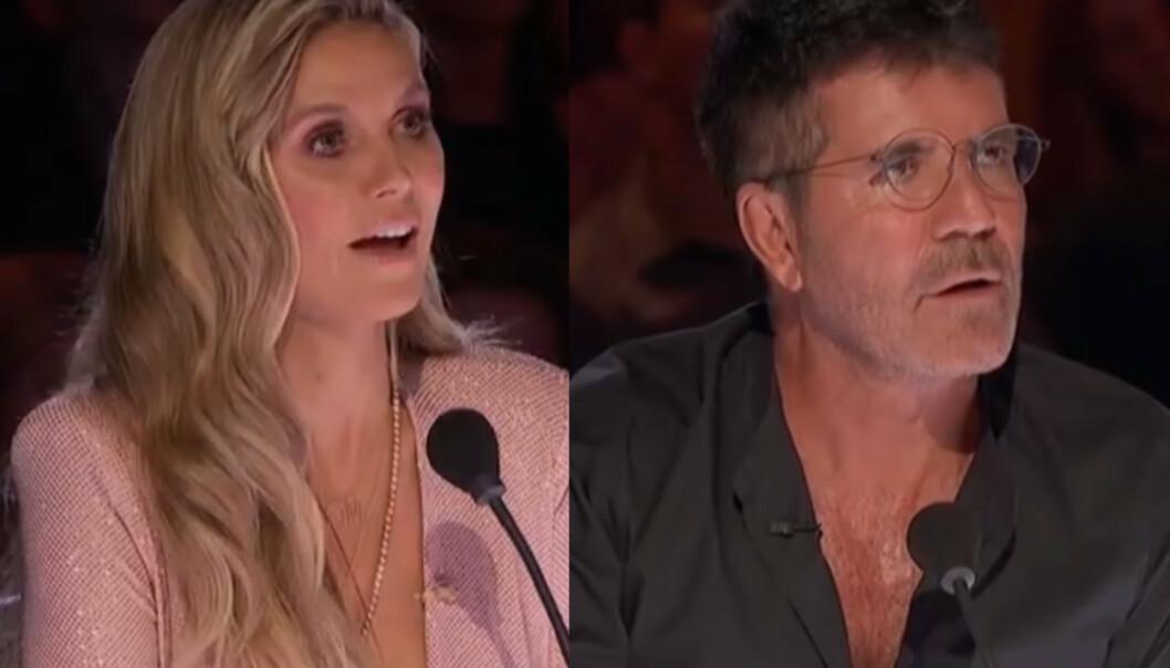 AMERICA'S GOT TALENT: Heidi Klum og Simon Cowell ble bergtatt av Norske talenter-vinner Angelina Jordans stemme. Foto: Skjermdump fra YouTube