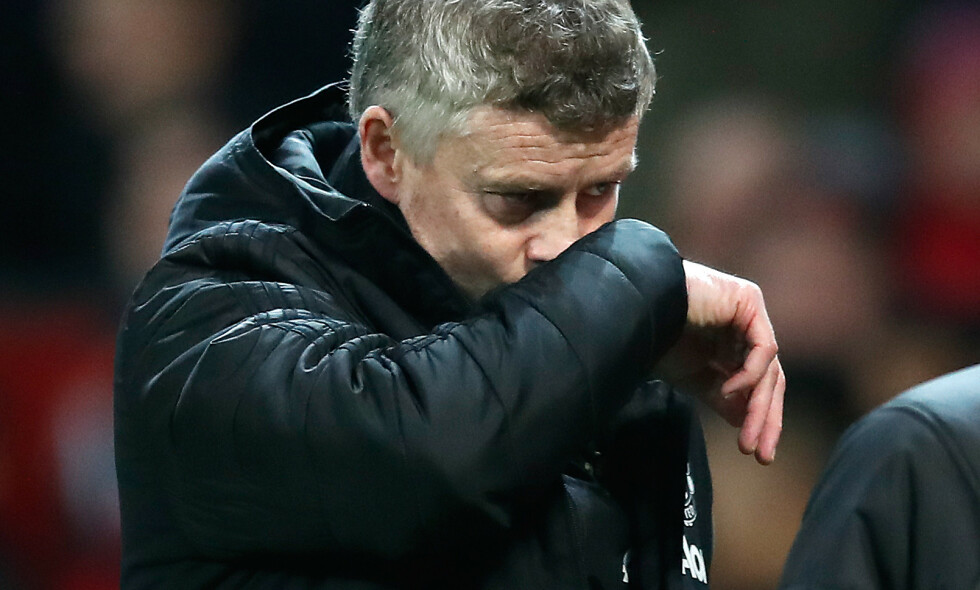 Manchester United manager Ole Gunnar Solskjaer looks dejected at half-time during the Carabao Cup semi final first leg match at Old Trafford, Manchester.