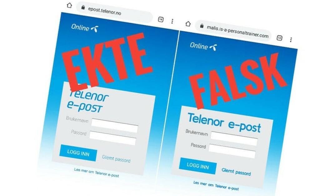 <strong>PASS PÅ:</strong> En falsk Online.no-side spres via e-poster. Siden prøver å lure til seg brukernavn og passord fra Telenor-kunder. Foto: Datahjelperne