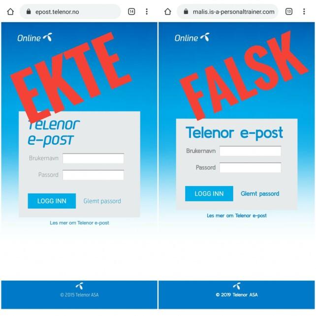 SJEKK ADRESSEFELTET: Du kan se at den falske Online.no-siden er falsk ved å se på adressefeltet. Klikk for større bilde. Foto: Datahjelperne