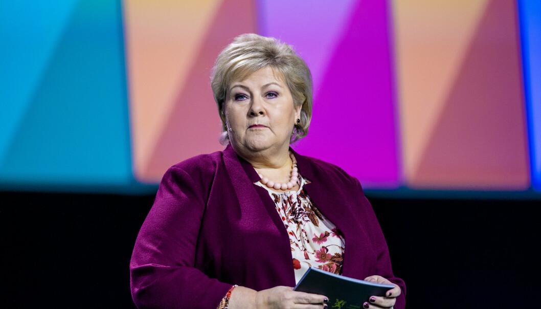 <strong>NHO:</strong> Statsminister Erna Solberg taler på NHOs årskonferanse i Oslo Spektrum. Foto: Stian Lysberg Solum / NTB scanpix