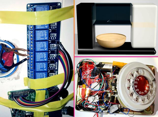 Hjemmestyring, nuddelmaskin og telefon-hack; noen av prosjektene noen av medlemmene på vinnerlaget har programmert, med blant annet Arduino-kontrollere. 📸: Privat