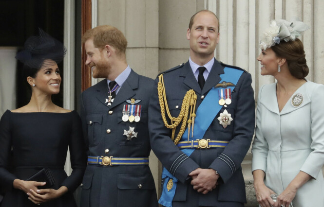 «THE FAB FOUR»: Hertuginne Meghan, prins Harry, prins William og hertuginne Kate. Foto: NTB Scanpix