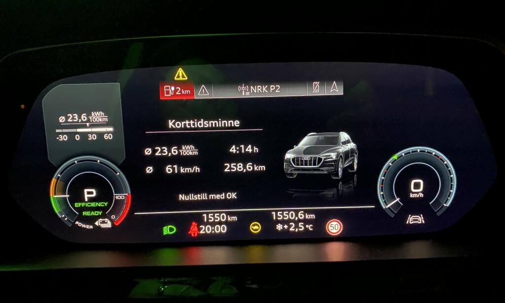 REKKEVIDDE OG FORBRUK: Vi kom 260,2 kilometer, med et forbruk på oppgitte 2,36 kWh per mil. Foto: Fred Magne Skillebæk