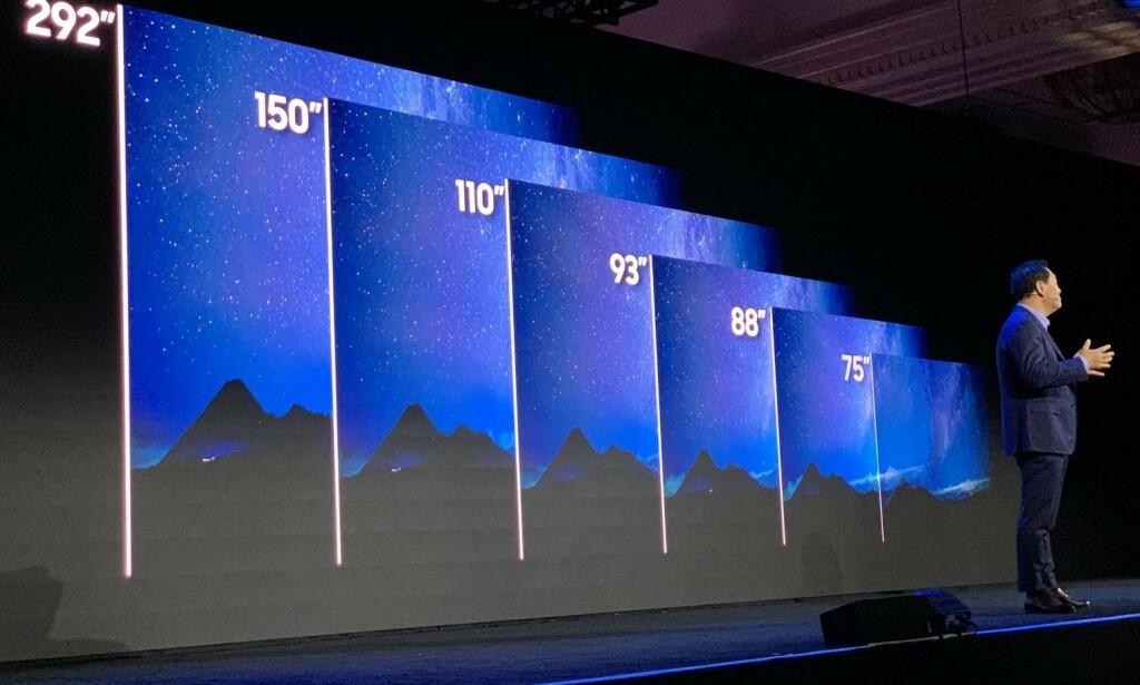 MANGE STØRRELSER: Samsung vil ha klare microLED-TV-er i fem størrelser i år, fra 75 til 150 tommer. En spesialutgave på hele 292 tommer kommer ikke i normalt salg. Prisene er uansett ventet å være høye i starten. Foto: Bjørn Eirik Loftås