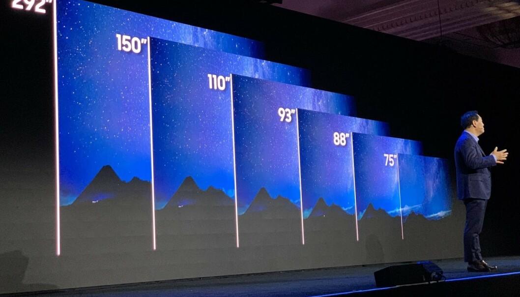 <strong>MANGE STØRRELSER:</strong> Samsung vil ha klare microLED-TV-er i fem størrelser i år, fra 75 til 150 tommer. En spesialutgave på hele 292 tommer kommer ikke i normalt salg. Prisene er uansett ventet å være høye i starten. Foto: Bjørn Eirik Loftås
