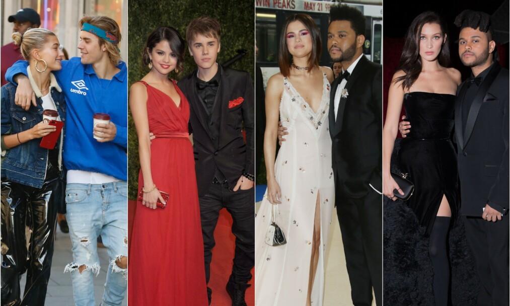 <strong>BYTTER UT:</strong> I mange år var Selena Gomez kjæreste med Justin Bieber. Han er i dag gift med Hailey Baldwin (t.v). Gomez har også datet artisten The Weeknd, som på sin side har hatt et av-og-på forhold med modellen Bella Hadid (t.h). Foto: NTB Scanpix