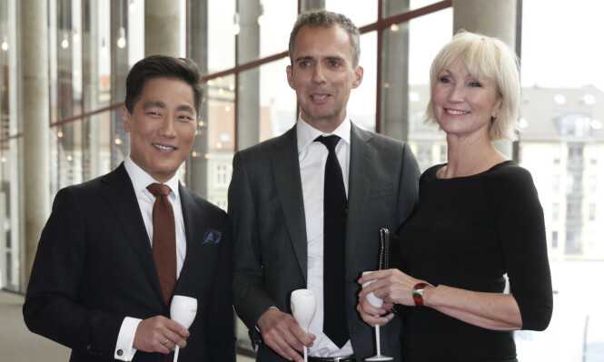 <strong>NRK:</strong> Fredrik Solvang, Jarle Roheim Håkonsen og Nina Owing under Gullruten 2017. Foto: NTB Scanpix