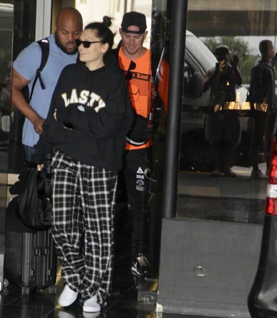 GODE DAGER: Jessie J og Channing Tatum på vei til hennes opptreden på Rock in Rio i Rio de Janeiro i slutten av september 2019. Foto: NTB scanpix