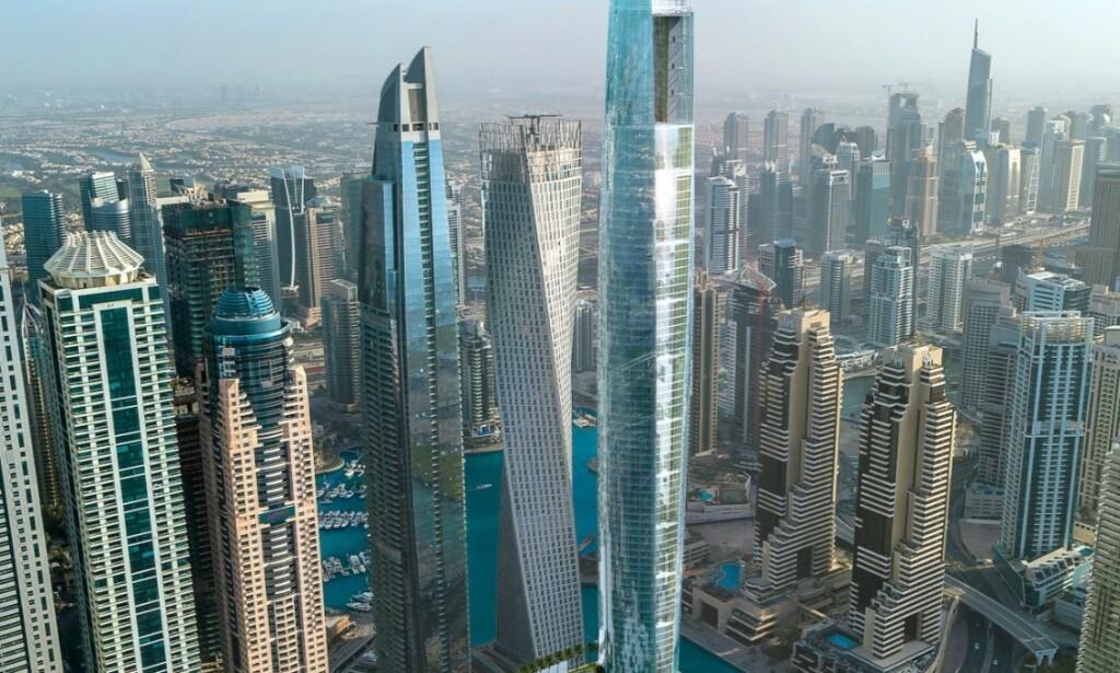 VERDENS HØYSETS HOTELL: Ciel Tower, som er under bygging, kan bli verdens høyeste dersom ingen andre melder seg på i mellomtida. Det skal bli 360,4 meter høyt. Dagens rekordholder ligger også i Dubai. Foto: The First Group