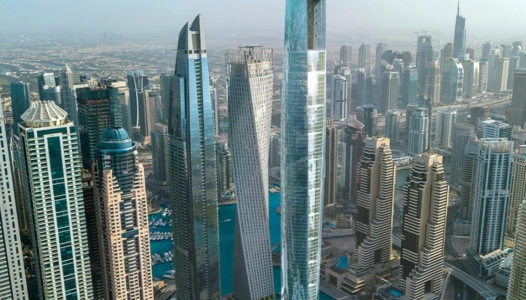 <strong>VERDENS HØYSETS HOTELL:</strong> Ciel Tower, som er under bygging, kan bli verdens høyeste dersom ingen andre melder seg på i mellomtida. Det skal bli 360,4 meter høyt. Dagens rekordholder ligger også i Dubai. Foto: The First Group