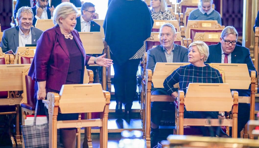 Statsminister Erna Solberg (H) og finansminister Siv Jensen (Frp) møtes mandag for å gå gjennom Frps krav for å forbli i regjering. Foto: Håkon Mosvold Larsen / NTB scanpix