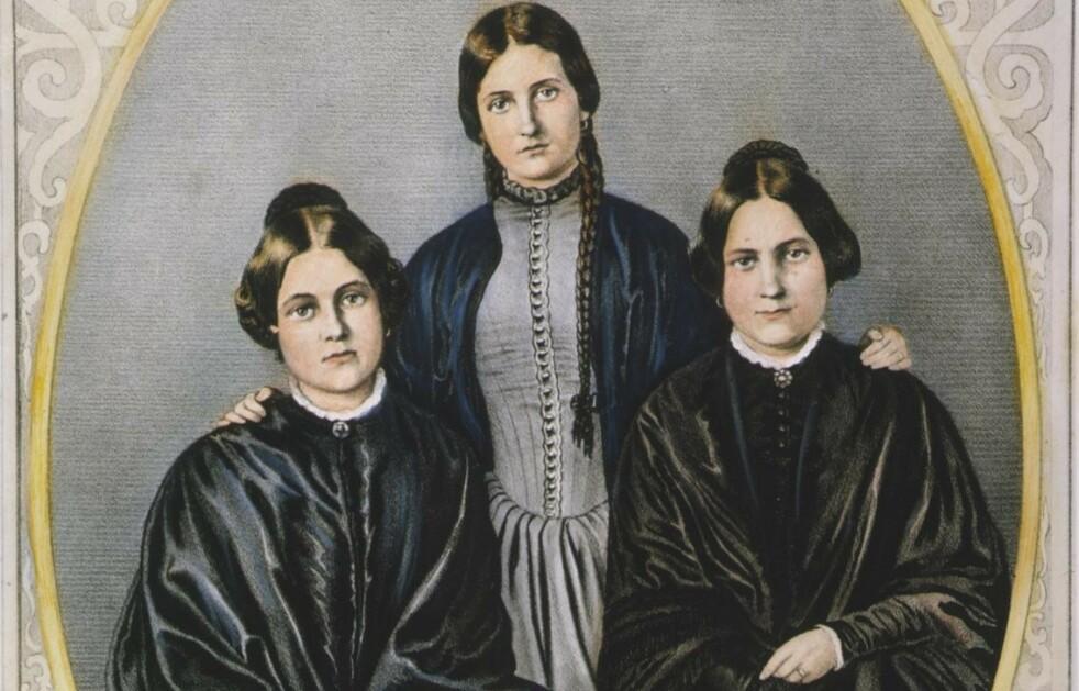 LYDHØRE SØSTRE: Margaret og Kate Fox gjorde god karriere på sin evne til å formidle beskjeder fra bankeånder. Storesøster Leah fungerte en stund som manageren deres.