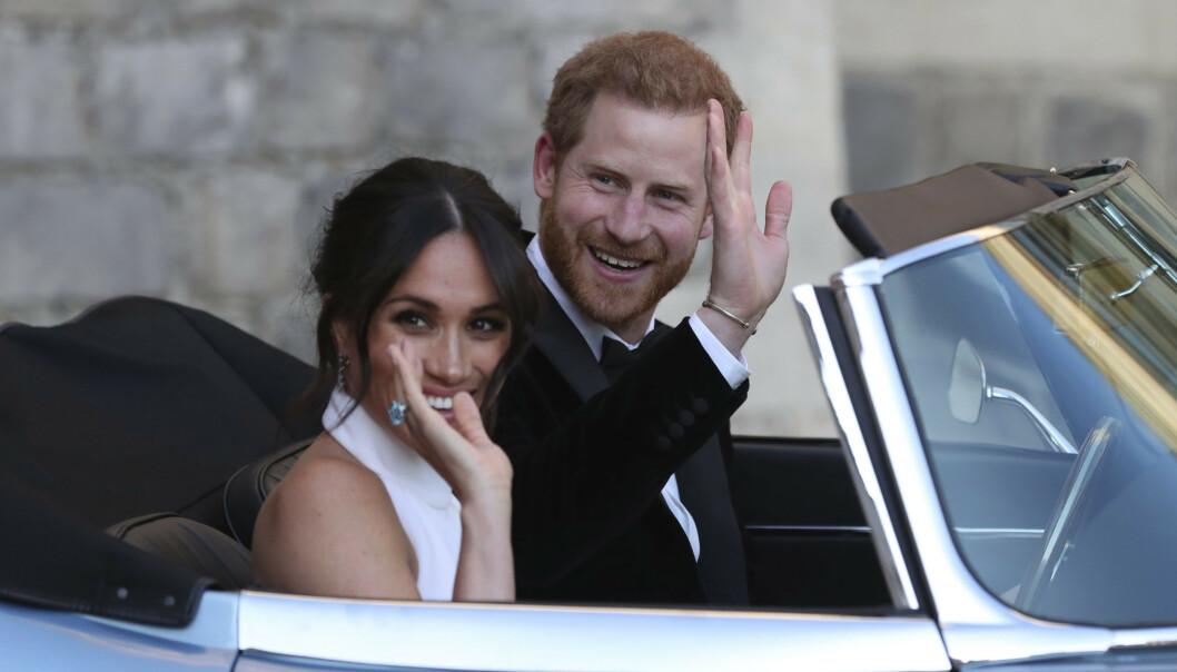 Harry og Meghan rett etter vielsen på Windsor Castle 19. mai 2018. Nå forlater de kongehuset og må klare seg selv. Arkivfoto: Steve Parsons / AP / NTB scanpix