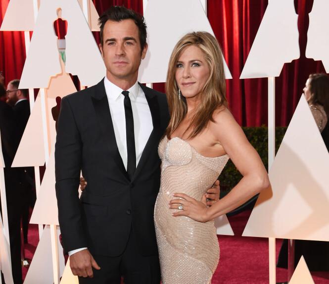 EKSER: Justin Theroux og Jennifer Aniston i 2015, samme året som de giftet seg. Duoen gikk hver til sitt to år seinere. Foto: NTB Scanpix