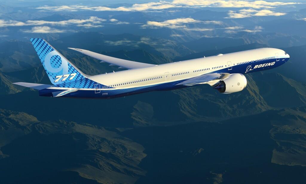 UTSATT: Testflygingen av Boeing 777x er nok en gang utsatt, denne gangen på grunn av dårlig vær. Foto: Boeing / AFP / NTB Scanpix