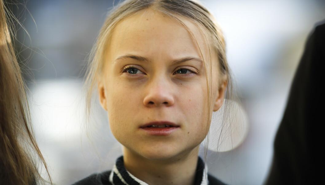<strong>SLÅR TILBAKE:</strong> Under en pressekonferanse i Davos fredag formiddag, kom Greta Thunberg med en tydelig beskjed til næringslivstoppene. Foto: NTB Scanpix