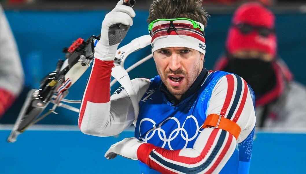 MERITTERT: Emil Hegle Svendsen har hele 16 internasjonale titler i skiskyting. Her er han avbildet under OL i Pyeongchang i 2018. Foto: NTB Scanpix