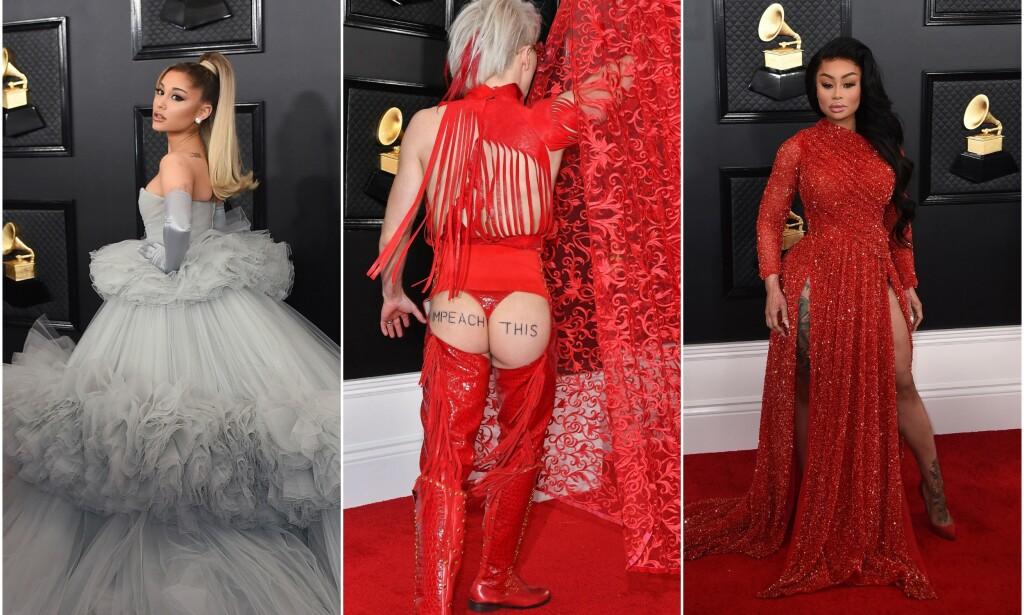 OVERRASKET: Natt til mandag gikk Grammy-utdelingen av stabelen i Los Angeles. Flere stjerner hadde dukket opp, kledd i sin fineste stas. Enkelte tok det derimot noen hakk lengre. Ricky Rebel valgte å protestere, og brukte stumpen som formidlingsplattform. Foto: NTB scanpix