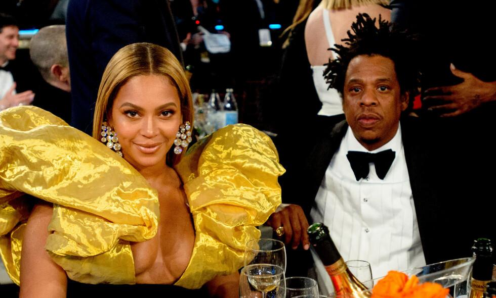 MØTTE IKKE OPP: Både Beyoncé og Jay-Z var selvskrevne gjester til Grammy-utdelingen, men ingen av dem dukket opp. Her på Golden Globe i starten av januar - der de unngikk den røde løperen. Foto: NTB Scanpix