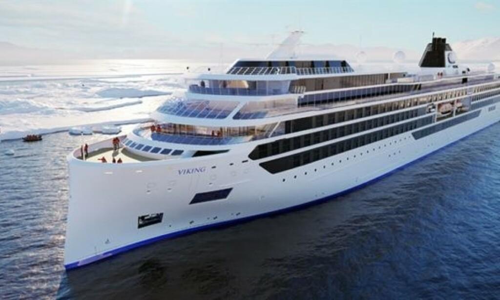 EKSPEDISJONSSKIP: Viking Cruises satser stort med to nye ekspedisjonsskip som er ventet sjøsatt i 2022. Skisse: Viking Cruises