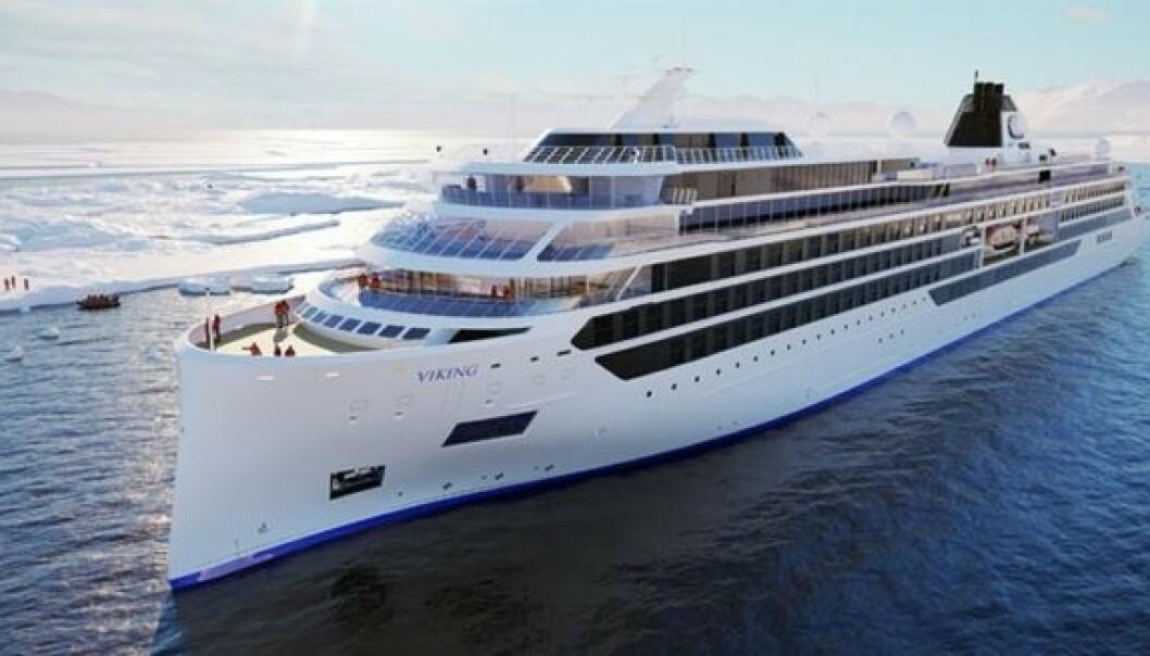 <strong>EKSPEDISJONSSKIP:</strong> Viking Cruises satser stort med to nye ekspedisjonsskip som er ventet sjøsatt i 2022. Skisse: Viking Cruises