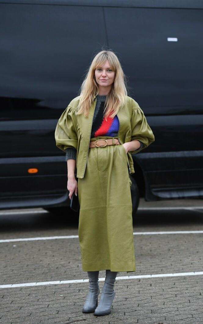 MATCHENDE: Jeanette Madsens skjørt og overdel i grønt matcher hverandre. Foto: NTB Scanpix
