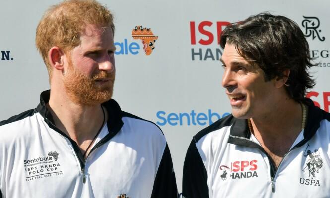 VENNER: Prins Harry og Nacho Figueras har spilt polo sammen i en årrekke. Figueras var også blant bryllupsgjestene da Harry og Meghan giftet seg i 2018. Foto: NTB Scanpix