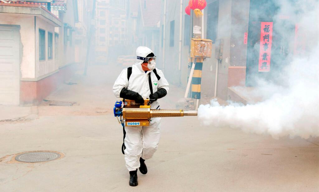 En mann desinfiserer landsbyen Dongxinzhuang etter utbrudd av coronaviruset i Kina. Foto: Reuters / NTB Scanpix